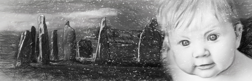 Standing Stones and Baby B&W